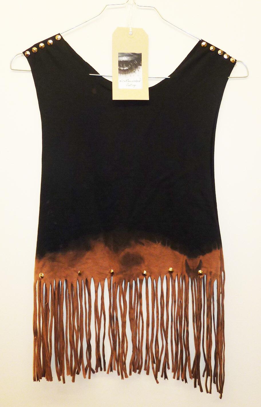 Vintage Dip Tie Dye Fringe Tassle Ladies Top Studded Spike Shoulders Summer Upcycled Oversize Vest