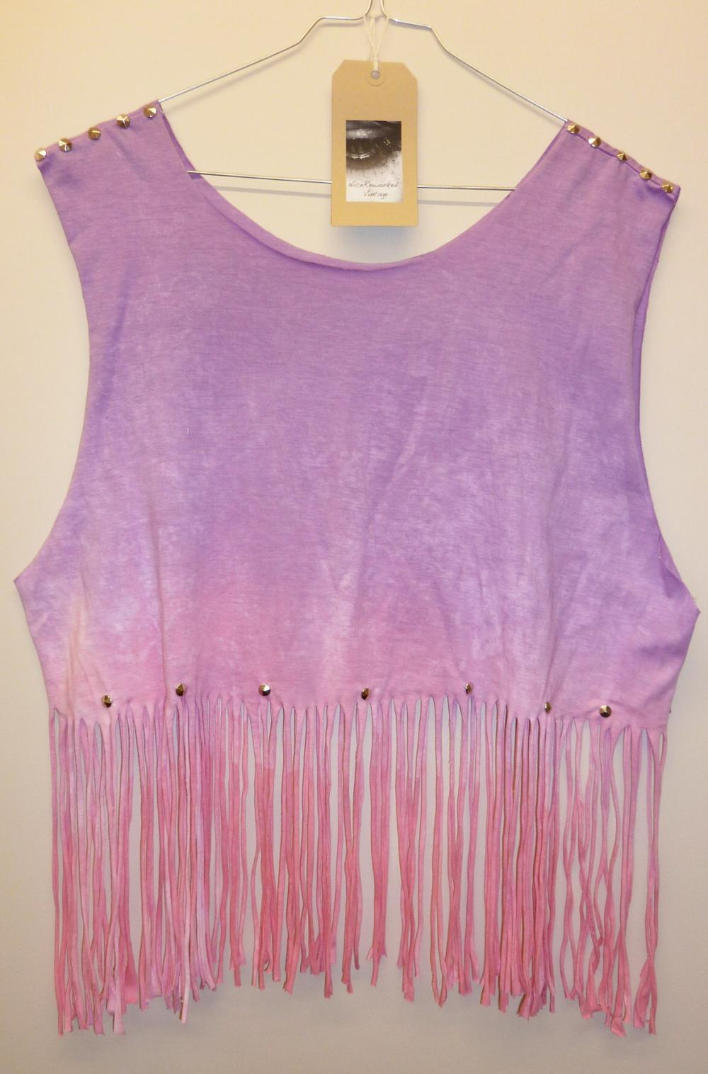 Vintage Dip Tie Dye Fringe Tassle Ladies Summer Crop Top Vest Studded Spike Shoulders Oversize