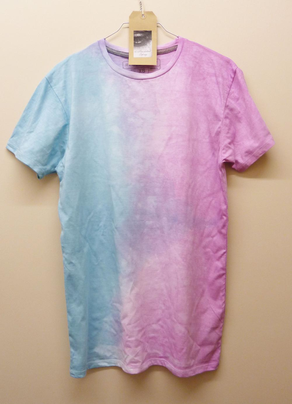 Dip Tye Dyed T Shirt Pastel colours Pink and Blue Reworked Vintage Summer