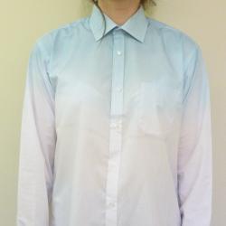 Hand Dip Tie Dyed Blue Ombre Oversized Ladies Summer Boyfriend Shirt Blouse