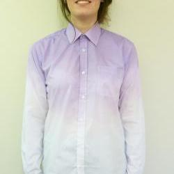 Hand Dip Tie Dyed Purple Ombre Oversized Ladies Summer Boyfriend Shirt Blouse